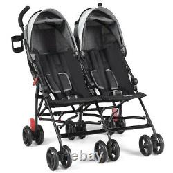 Foldable Twin Baby Toddler Double Stroller Ultralight Umbrella Kids Twins Gray