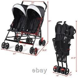 Foldable Twins Baby Double Stroller With Ultralight Umbrella Adjustable Canopy LI
