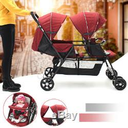 Folding Double 2 Seat Twins Baby Trolley Front And Back Tandem Stroller Car