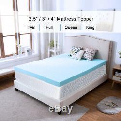 Gel Memory Foam Mattress 2.5/3/4 Inch Blue Topper Ventilated Dot King Twin Full