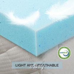 Gel Memory Foam Mattress 2.5/3/4 Inch Topper Blue Ventilated Queen King Twin Ful