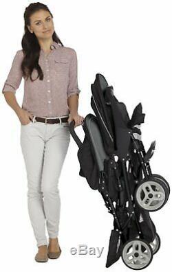 Graco Stadium Duo Tandem Double Pushchair Twin Stroller Baby Buggy Black/Grey