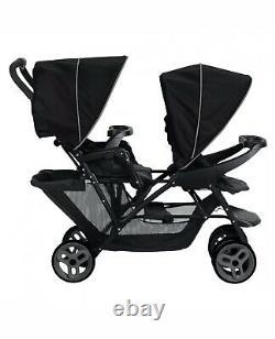 Graco Stadium Duo Tandem Twin Seat Buggy Stroller Pushchair Black/Grey Free