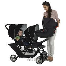 Graco Stadium Duo Tandem Twin Seat Buggy Stroller Pushchair Black / Grey Kids