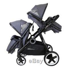 Grey Lightweight Twin Tandem Pram Stroller inc Carrycots Footmuff & Raincover