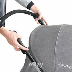 Grey Tandem Double Stroller Twin Pushchair From Birth Duo Baby Toddler Buggy