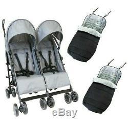 Grey Zeta Double Twin Stroller Buggy Pushchair Pram inc Footmuff & Raincover