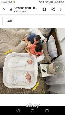 HALO BassiNest Twin Sleeper, Bedside Double Bassinet Premiere Series Sand Circle