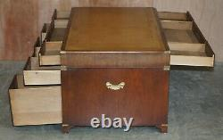 Harrods Kennedy Double Sided Bookcase Back Military Campaign Twin Pedestal Desk