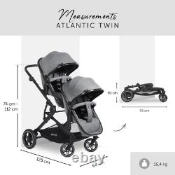 Hauck Atlantic Twin 2-in-1 Tandem Pushchair Grey Suitable from Birth