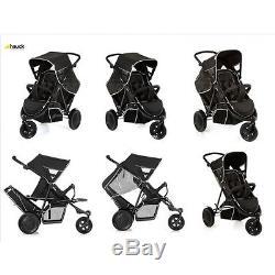 Hauck Black FreeRider tandem Double twin pushchair pram 3 wheeler + RAINCOVER