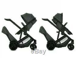 ^ Hauck Duett 3 Double Tandem Twin Pushchair Pram Buggy Melange Charcoal 1021