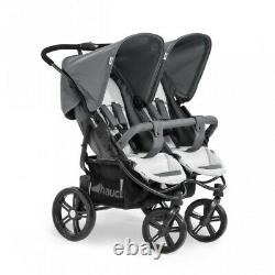 Hauck Roadster Duo SLX Twin Double Buggy Pushchair Pram Silver Grey+Raincover