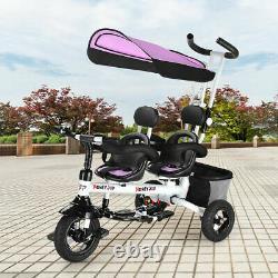 HoneyJoy 4In1 Baby Twins Double Easy Steer Stroller Toy Tricycle Detachable Kids