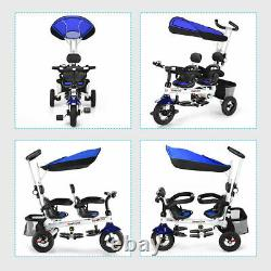 HoneyJoy 4-In-1 Baby Twins Double Easy Steer Stroller Tricycle Detachable Blue