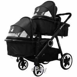 ISAFE Baby Boys Black Lightweight Double Twin Tandem Pram Stroller Buggy