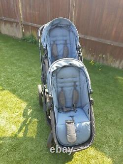 Icandy Orange Double Baby Pushchair Stroller Pram Buggy Twin Carrycot Duo