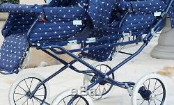 Inglesina Italian Blue Baby Toddler Classic Double Twin Carriage Pram