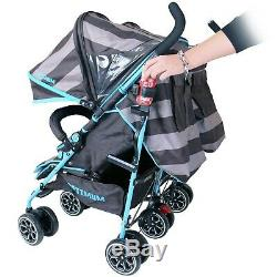 Isafe Twin Double Blue Boys Stroller Pram Buggy Inc Raincover Cup Holder