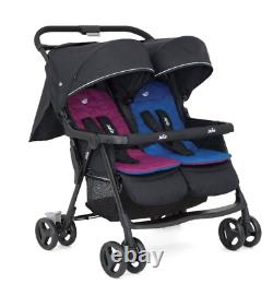 Joie Aire Twin Stroller Rosy/Sea, High Quality & Stylish Design, Birth To 15kg