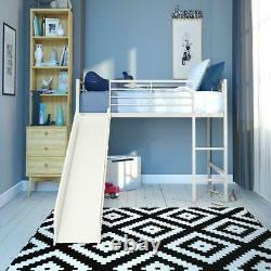 Junior Loft Twin Bed Frame with Slide Fun Kids/Childrens with Ladder Rails Playroom