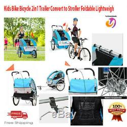Kids Bike 2In1Double Trailer/Jogger WithBrake Twins Convert to Stroller Foldable