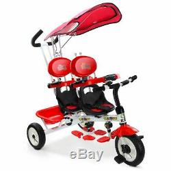 Kids Twin Trike Tricycle Baby Stroller Bike Toddler Double Seats Canopy 4 in 1