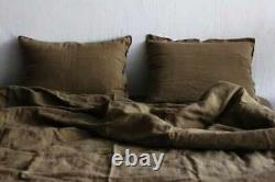 Linen duvet cover in Mustard color. Stonewashed bedding. King, Queen, Twin, Full