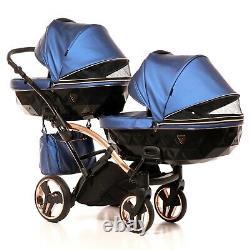 Luxury Twin Pram Junama Fluo Line Duo SlimBlue+Rose Gold Double Buggy Baby Twins