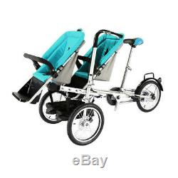 Luxury Twin Tandem Baby Stroller Pushchair Double Seat Mom Bicycle Tricycle Blue