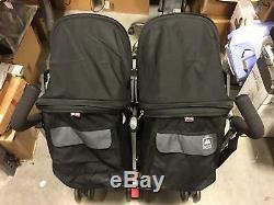 Maclaren Twin Triumph Double Baby Stroller, Lightweight Compact, Black/Charcoal