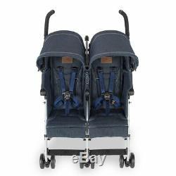 Maclaren Twin Triumph Double Baby Stroller, Lightweight Compact, Denim