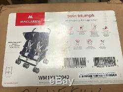 Maclaren Twin Triumph Double Light Weight Stroller Blue/Silver