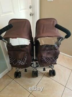 Maclaren Twin Triumph Double Seat Stroller Lightweight Umbrella, Chocolate Brown