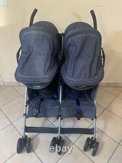 Maclaren twin triumph Double stroller in denim. Organizer & Rain Cover Included