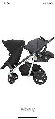 Maxi-Cosi Lila Modular Twin Baby Double Stroller with Second Seat Frequency Black