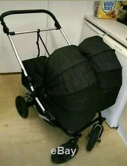Mountain Buggy Duet With Complete Twin Sets Carrycots, Car Seats, Raincovers Etc