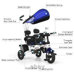 Multipurpose Twins Double Kid Easy Steer Stroller Children Tricycle Detachable