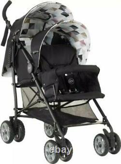 MyChild Sienta Duo Tandem Stroller (Geo) with newborn liner twin buggy pushchair