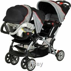 NEW Baby Trend Sit N Stand Double Twin Stroller Pram + 2 Car Seats