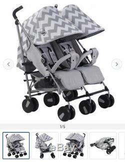 NEW My Babiie MB22 Twin / Double From Birth Baby Folding Stroller Grey Chevron