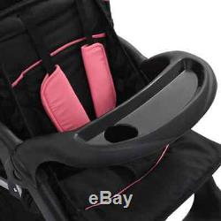 New Baby and Toddler Tandem Buggy Steel Double Seat Twin Pushchair Stroller Pink