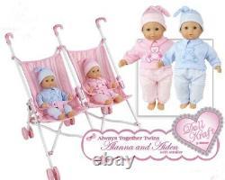 New Boy Aiden & Girl Alanna Play Baby Twins Dolls Double Doll Stroller Set