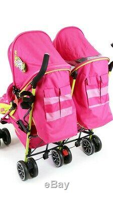 OPTIMUM ISAFE Mea Lux Baby Toddler Double Twin Pink Stroller Buggy inc Raincover