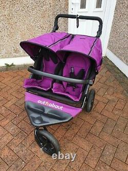 Out n About Nipper Double V4 Double Seat Stroller Purple Twins Buggy Pram