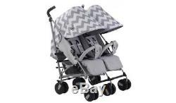 PRE-LOVED My Babiie Billie Faiers MB22 Grey Chevron Twin Pushchair/Stroller #112