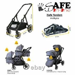 Pram System Double Twin Travel Tandem Pushchair Buggy Stroller Carseat Harmony