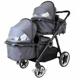 Pram System Double Twin Travel Tandem Pushchair Buggy Stroller Carseat Pebble