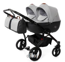 Premium Twin Pram Junama Madena Duo Double Buggy Baby Twins Stroller Pushchair