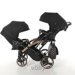 Premium Twin Pram Tako Laret Imperial Duo SLIM Black+Rose Gold Double Buggy Baby